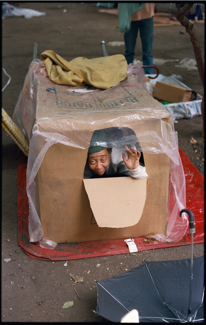 Clayton Patterson, 'Untitled (Tent city - woman in box in 1990)', 2007, Tillou Fine Art