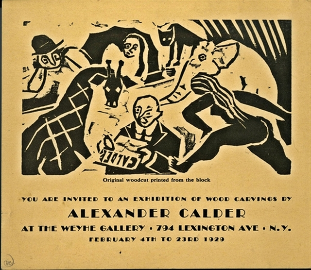 , 'ORIGINAL WOODCUT ANNOUNCEMENT CARD DESIGNED BY CALDER FOR HIS SECOND SHOW IN THE U.S. AT THE WEYHE GALLERY, N.Y.,' 1929, Alpha 137 Gallery