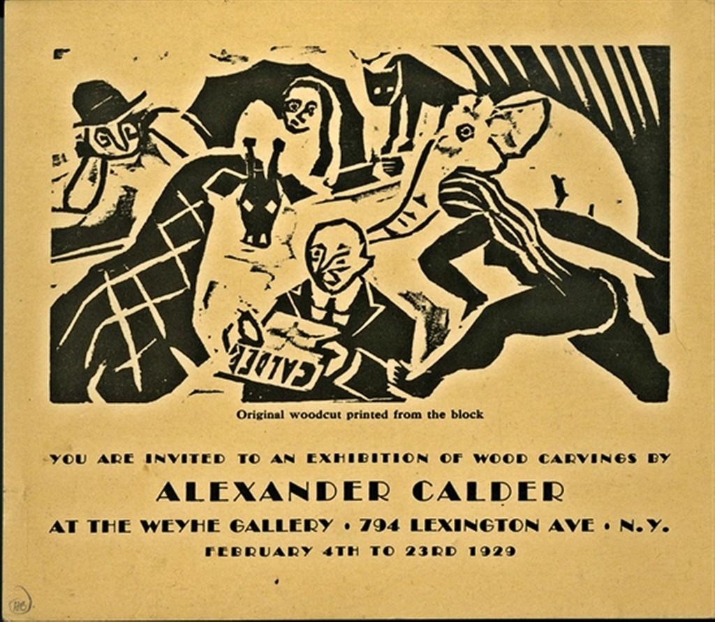 alexander calder original woodcut announcement card