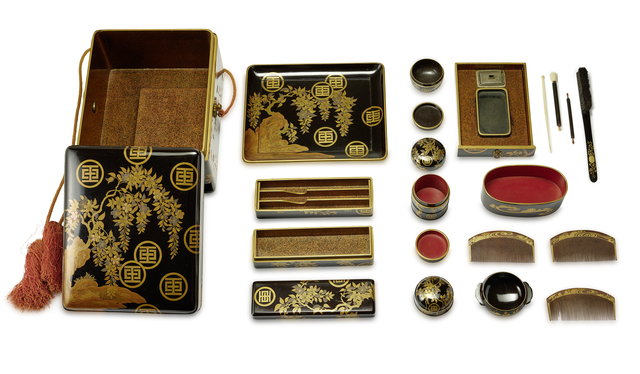 Unknown Artist, 'A Handy Box (Tebako) Containing Toiletries with Travelling Writing Utensils', Edo period, Liang Yi Museum