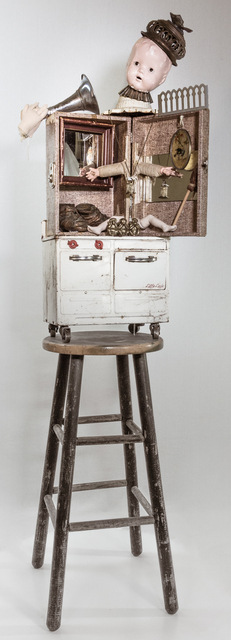 Gina M., 'Listen Little Lady', 2018, Installation, Assemblage, toy stove, doll parts, stool, mirrors, bronze baby shoes., Dab Art