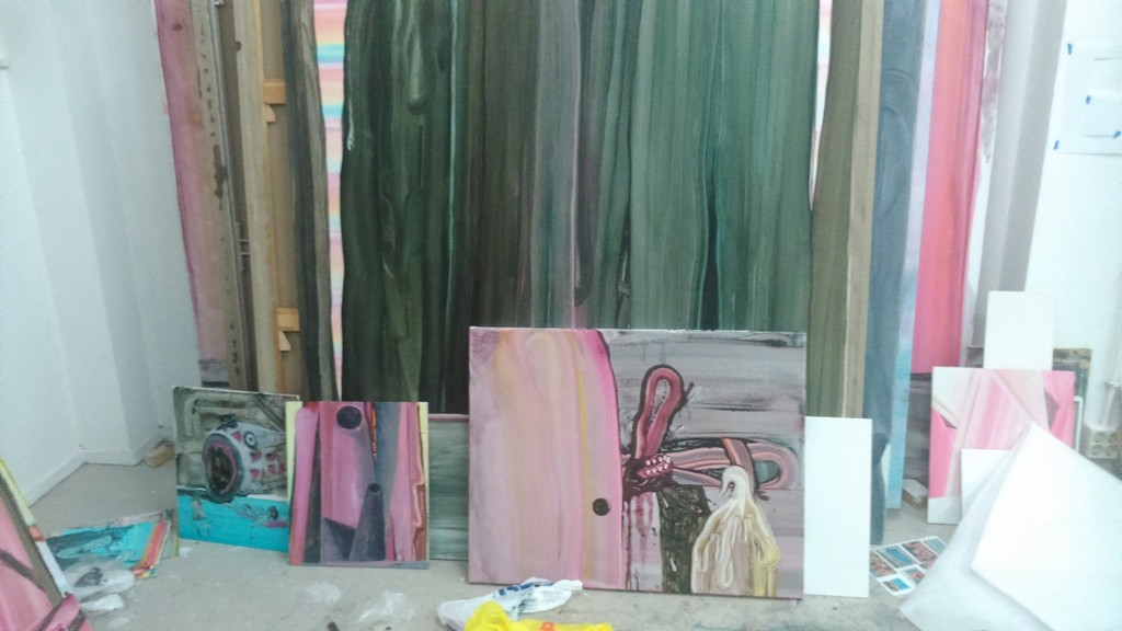 Work on display in the artist's studio.