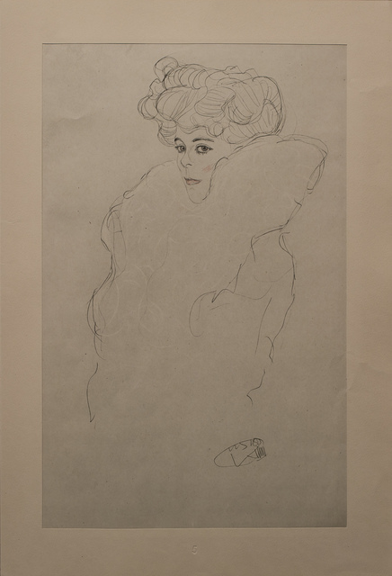 Gustav Klimt, 'Portrait Sketch: Lady with Boa (Red and White Tinted)', 1919, White Cross