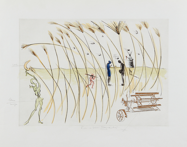 Salvador Dalí, 'La Moissonneuse (The Combine-harvester), for Hommage à Leonardo da Vinci (American Inventions)', 1975, Print, Drypoint with extensive hand-coloring in gouache, on Rives BFK paper, with full margins, Phillips