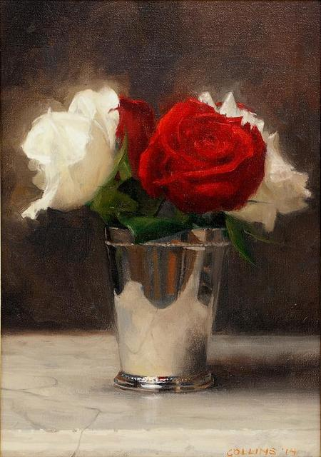 , 'Red and White Roses in a Silver Cup,' 2014, Adelson Galleries