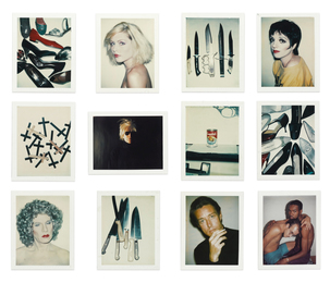 Andy Warhol, 'i. Shoes; ii. Debbie Harry; iii. Knives; iv. Liza Minelli; v. Crosses; vi. Self-Portrait with Fright Wig; vii. Campbell's Wonton Soup; viii. Shoes; ix. Self-Portrait in Drag; x. Knives; xi. Halston; xii. Keith Haring and Juan Dubose [Twelve Works],' 1977-1986, Sotheby's: Contemporary Art Day Auction
