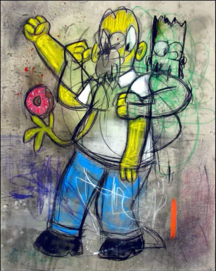 , 'Disco doughnuts Homer at studio 54,' , Eternity Gallery