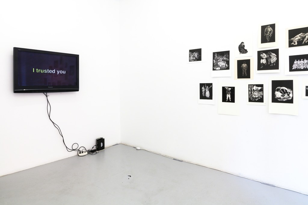 "exhibition #4: (light) Stijn Peeters (Eindhoven), Lino Cuts (2003-05) –  (left) Adam Knight (London), video/audio installation ""I trusted you"" (2018)"