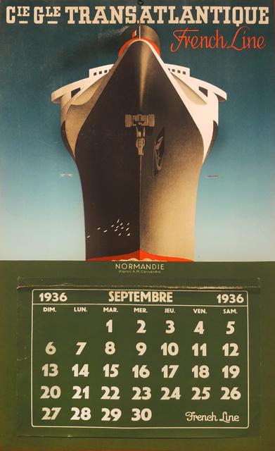 , 'ATLANTIC FRENCH LINE - NORMANDIE CALENDAR,' 1936, Omnibus Gallery
