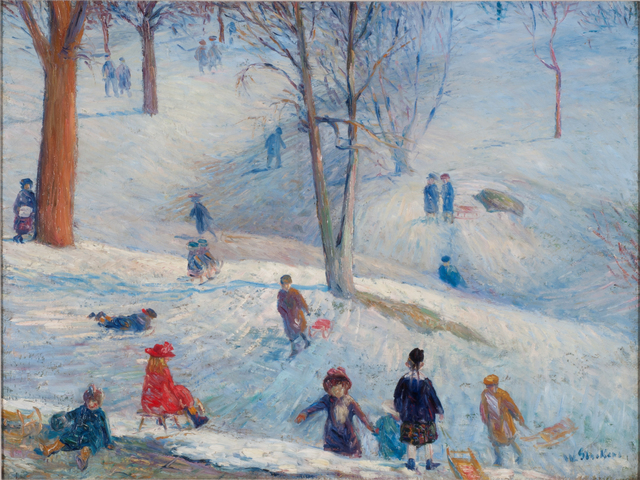 , 'Sledding in Central Park,' 1912, Parrish Art Museum