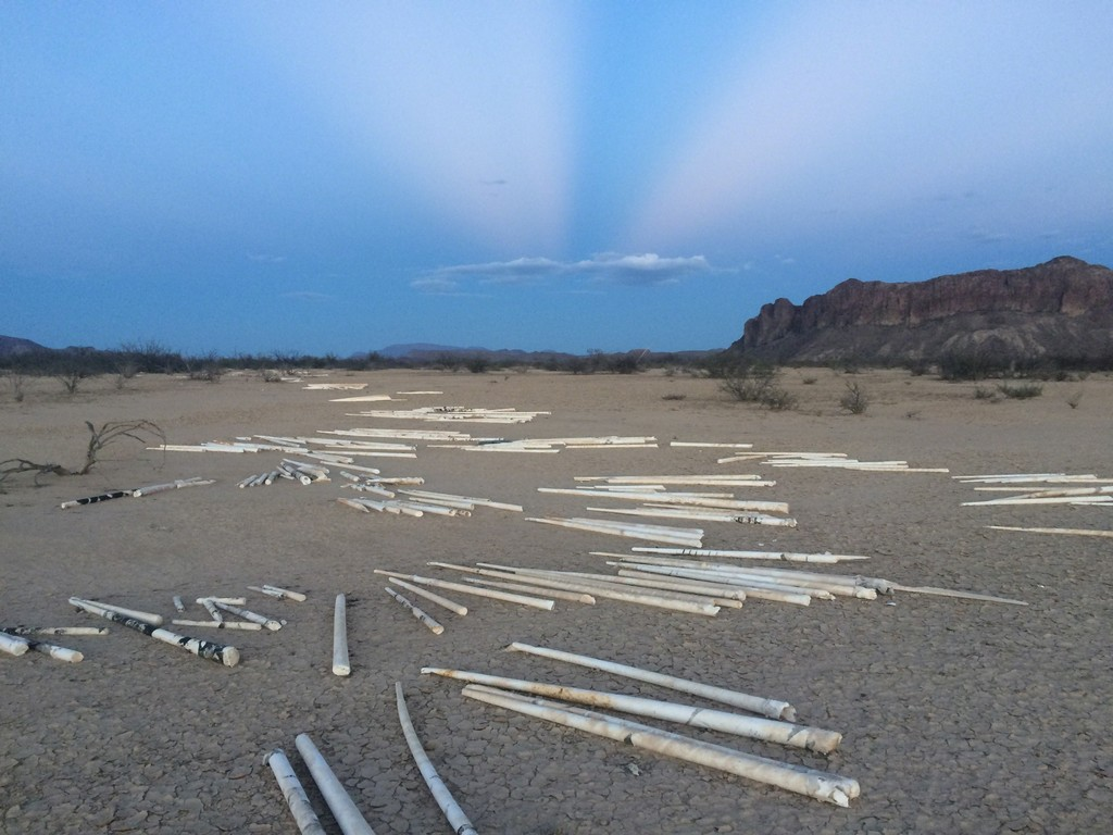 "Beck's five-acre parcel in the Big Bend region of West Texas, part of which includes a land drawing of plaster ""marks."" The plaster and other elements alter the natural water-flow on this seemingly flat landscape. He plans to travel to TX to do additional work on ""Disruption Regime."""