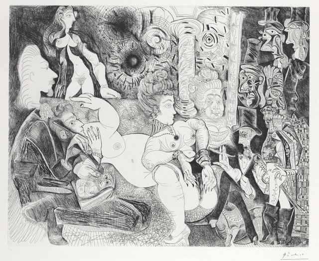 Pablo Picasso, 'Peintre á lavalière dessinant son modéle dans le cadre de la maison tellier, from La Série 156', 1970, Print, Etching, on Rives paper, Christie's