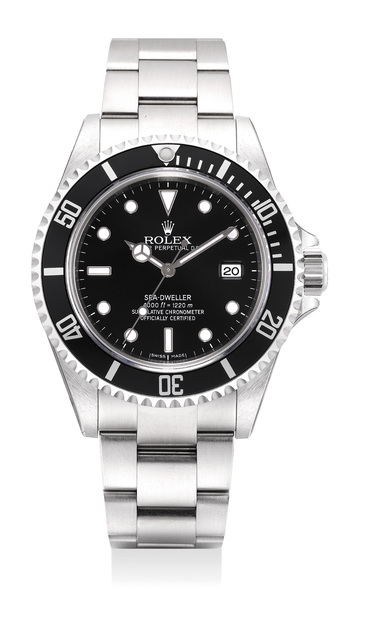 Rolex, 'A fine and very well-preserved stainless steel diver's wristwatch with center seconds, date, gas escape valve, bracelet, guarantee and box', 2008, Phillips