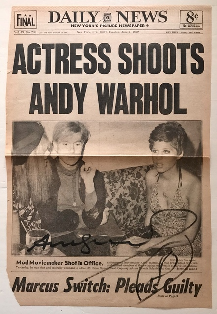 Andy Warhol, 'Frontpage of Daily News - Actress shoots Andy Warhol, SIGNED', 1968, MultiplesInc Projects