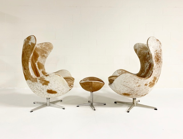 Arne Jacobsen, 'Egg Chairs and Ottoman in Brazilian Cowhide', mid 20th century, Forsyth