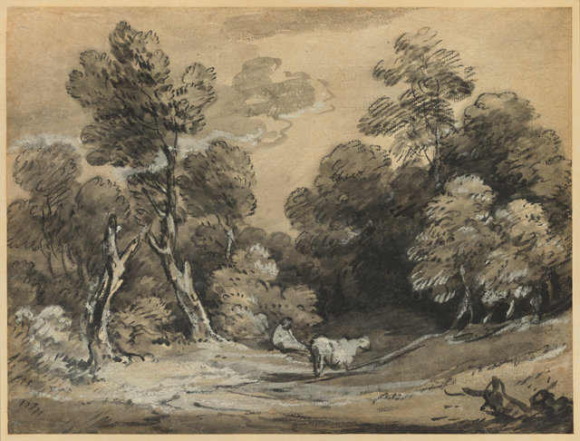 , 'Wooded Landscape with Herdsman and Cow,' early 1780s, Clark Art Institute