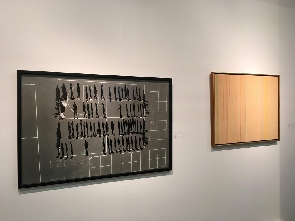 "Tomas VAN HOUTRYVE: School Yard (Drone series) 2013, silver gelatin print, edition of 7, 26 x 40""; Gene DAVIS: Sand Hog, 1972, acrylic on canvas, 23 x 29"""