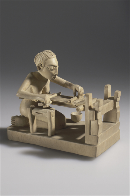 , 'Carving, the stage of weaving cloth on a loom, or nunun,' Batuan, Bali, 1938, Bard Graduate Center Gallery