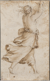 Striding Half-nude Female Figure Seen from Behind