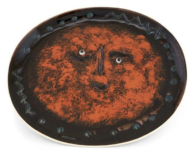 Pablo Picasso, 'Visage Dans Un Ovale (A.R. 275)', 1955, Design/Decorative Art, Painted and glazed white ceramic plate, Doyle