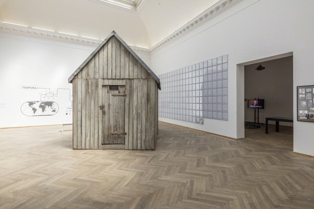 "Lutz Dammbeck, ""Cabin"", 2003. A reconstructino of the Unabomber's cabin. Installation view from 'Whistleblowers & Vigilantes, Kunsthal Charlottenborg, 2017. Photo by Anders Sune Berg."