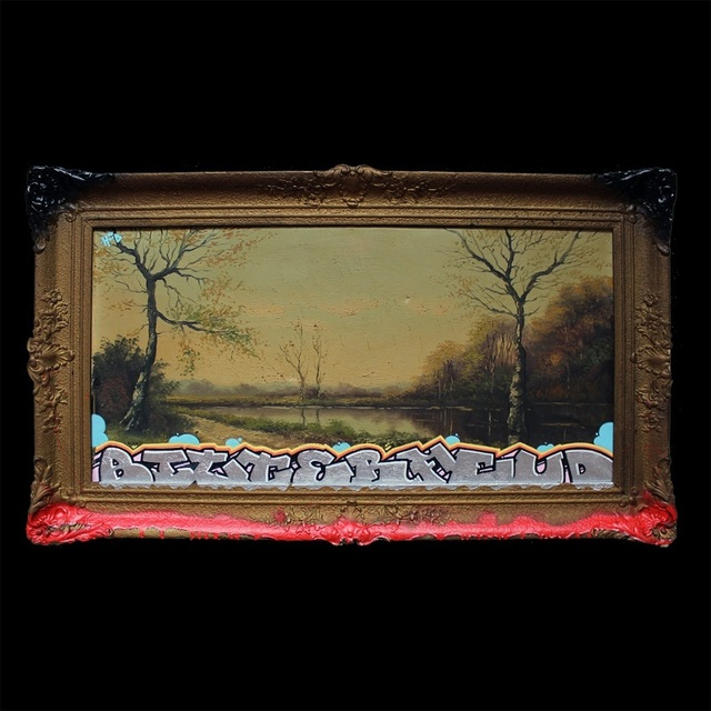 HoodKitsch, 'Bitter Feud', 2021, Painting, Posca pen (acryli paint) and spray paint on reclaimed kitsch print, Kalkman Gallery