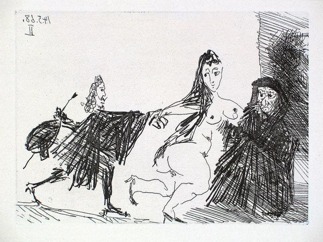 Pablo Picasso, 'La Célestine en Action: Le Pigeon', 1968, Print, Etching and aquatint, Goldmark Gallery