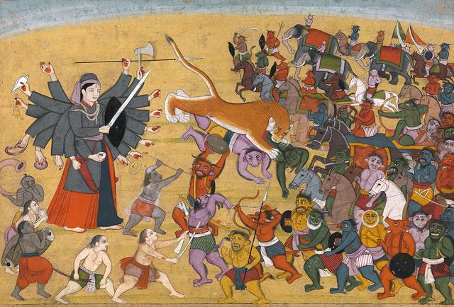 , 'Goddess Chandika battles the Army of Mahishasura,' ca. 1790, Prahlad Bubbar