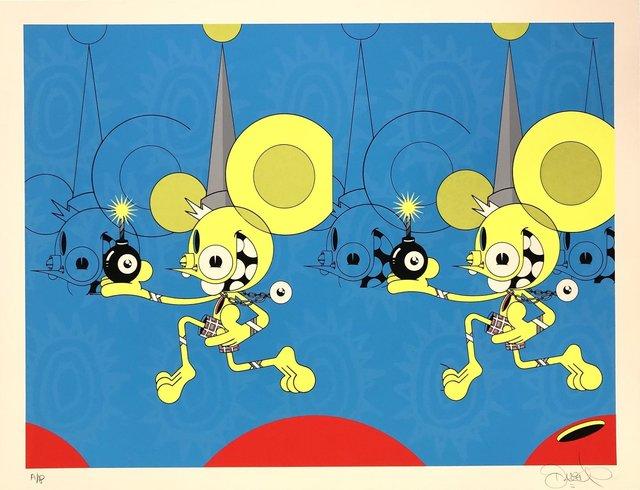James Marshall (Dalek), 'Spacemonkey (Bomber)', 2020, Print, Screen-print on white art paper, Blackline Gallery