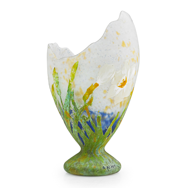 Daum, 'Fine Egg-Shaped Vase With Daffodils, France', Early 20th C., Rago/Wright