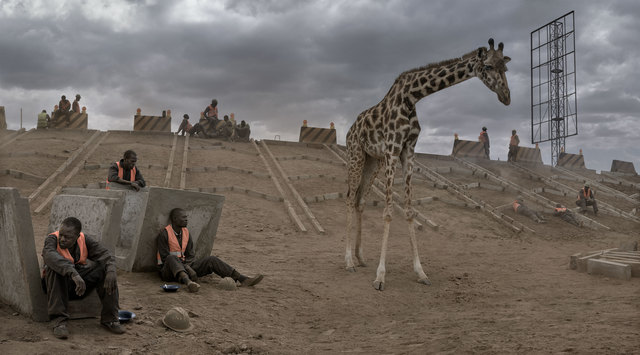 , 'Highway Construction with Giraffe & Workers,' 2018, Fahey/Klein Gallery