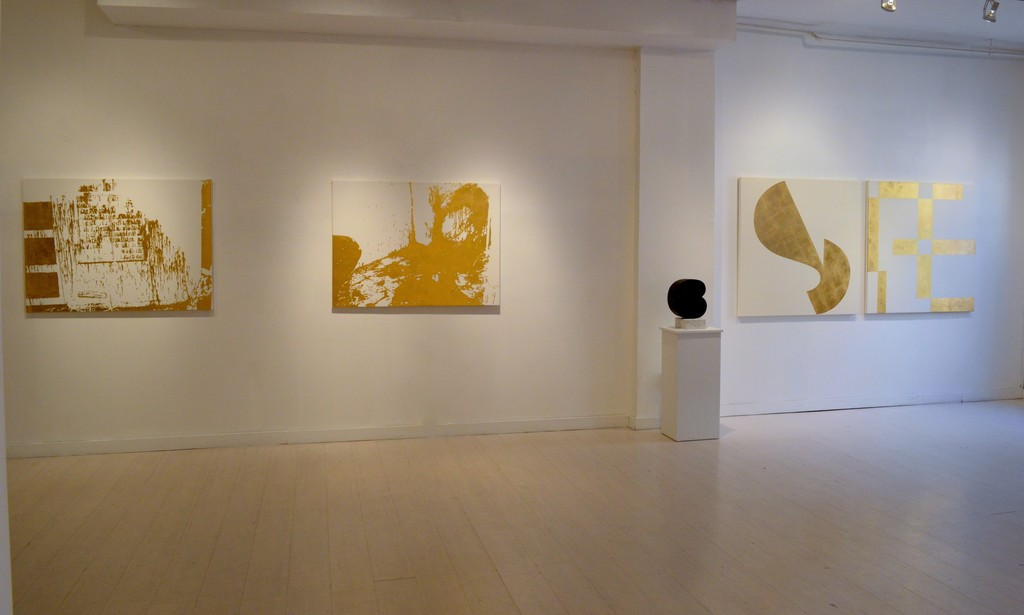 From left: 'Action Paintings' (Pintura de action)gold leaf, canvas