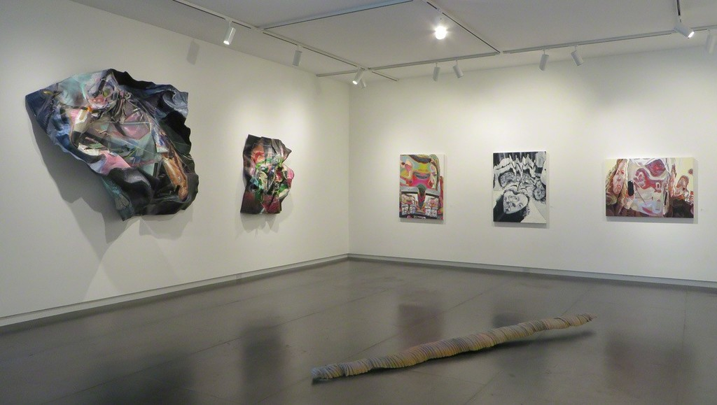 Paintings by Morgan Buck and Amy Turnbull; floor sculpture by Colin Kippen.