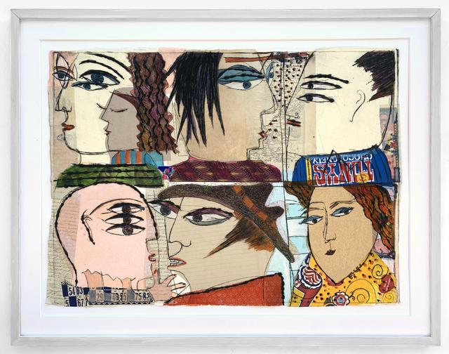 Kristiane Semar, 'Punky Deeple (6 Heads)', 2020, Print, Drypoint on Perspex & Chine Collée on Zerkall Alt Bern 250 gsm, Dreipunkt Edition