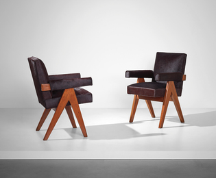 Pair of 'Committee' armchairs, model no. PJ-SI-30-A, designed for the High Court, the Assembly and Punjab University administrative buildings, Chandigarh