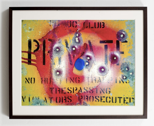 "William S. Burroughs, 'Shot and Signed Metal ""Private"" Sign', 1986, Other, Metal, Gonzo Gallery"