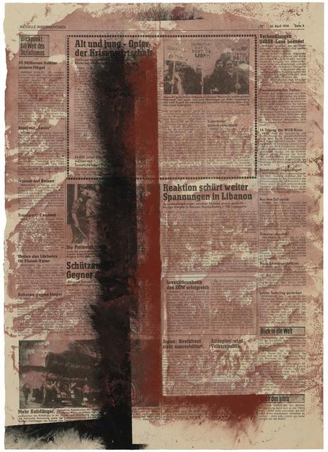, 'Zwei rechtwinklige Vertikale in Braun und Schwarz, auf rotem Grund,' 1976, Galerie Doebele