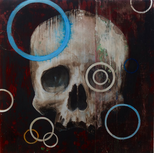 Edward Walton Wilcox, 'Blue Ring Trophy Head', 2020, Painting, Oil and bitumen on panel, KP Projects