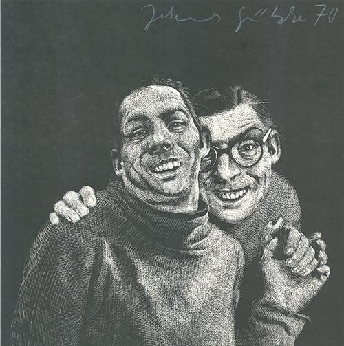 Johannes Grützke, 'Zwei Männer', 1970, Print, Linoleum cut, Sylvan Cole Gallery