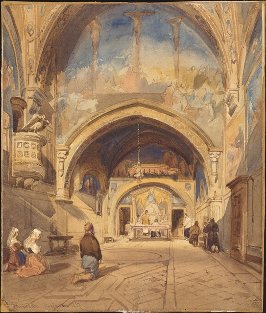 David Roberts, 'The Interior of the Church of San Benedetto', 1837, Drawing, Collage or other Work on Paper, Watercolor over graphite with scratching out on wove paper, National Gallery of Art, Washington, D.C.