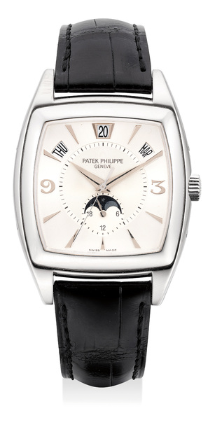 Patek Philippe, 'A fine and rare white gold annual calendar wristwatch with center seconds, moon phases, certificate and box', Circa 2005, Phillips