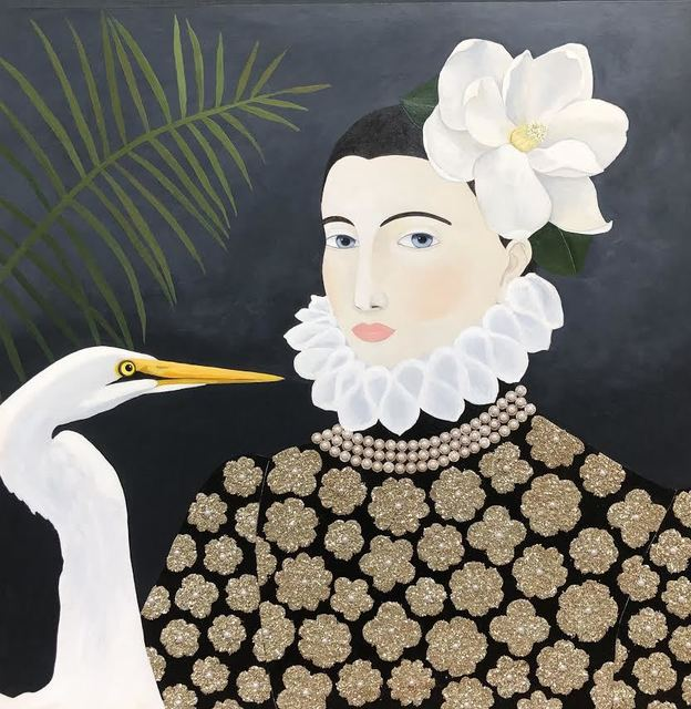 """Leslie Barron, '""""Woman with Egret"""" mixed media painting of a woman in baroque top with white flower and bird', 2019, Eisenhauer Gallery"""