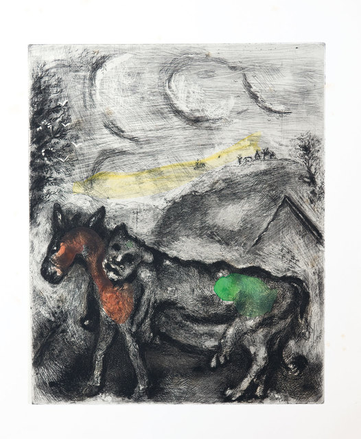 Marc Chagall, 'The Ass dressed in the Lion's Skin', 1952, Print, Etching with hand colouring, Goldmark Gallery