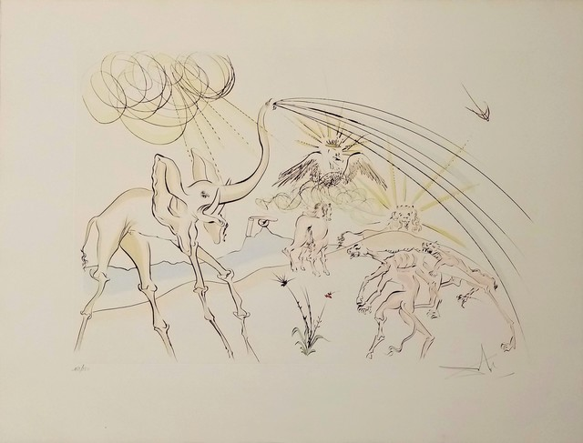 Salvador Dalí, 'The animals ill with the plague', 1974, Drawing, Collage or other Work on Paper, Original engraving + added color, Dali Paris