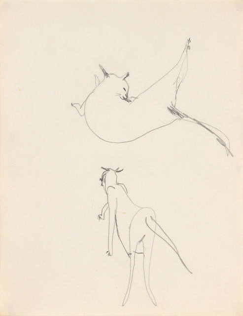 , 'Untitled (cat grooming and walking),' 1955-1957, Andy Warhol Museum
