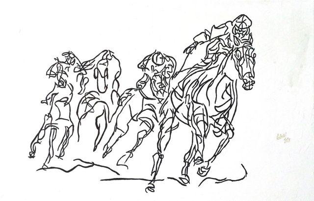 Uli Lächelt, 'Horse racing ', 2017, Galerie Makowski