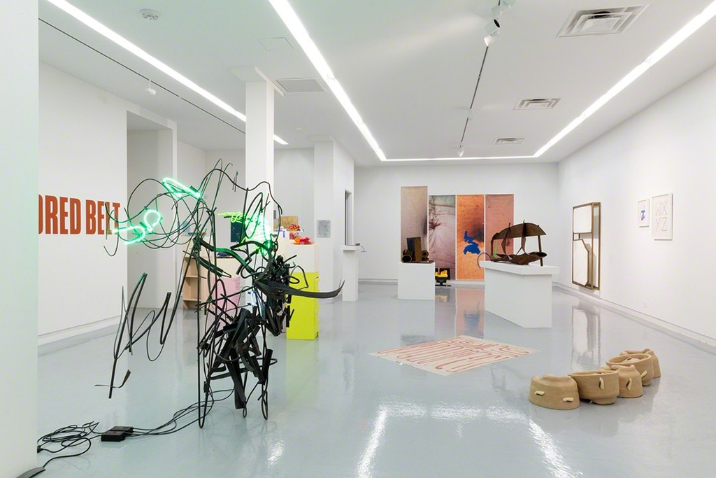 ASSISTED, Installation View, 2015. Left to right: Jessica Stockholder, Haim Steinbach, Patrick Chamberlain. Photo by Evan Jenkins.