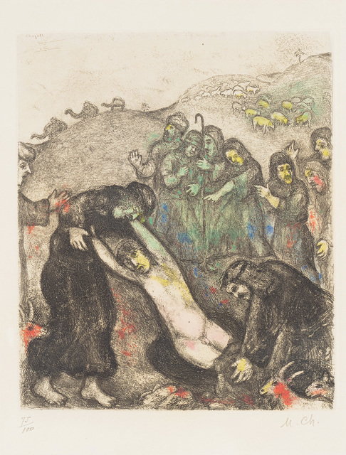 Marc Chagall, 'Joseph et ses frères (Joseph and his Brothers), plate 18 from La Bible', 1931-39, Print, Etching and aquatint with hand-colouring in watercolour, on Arches paper, with full margins., Phillips