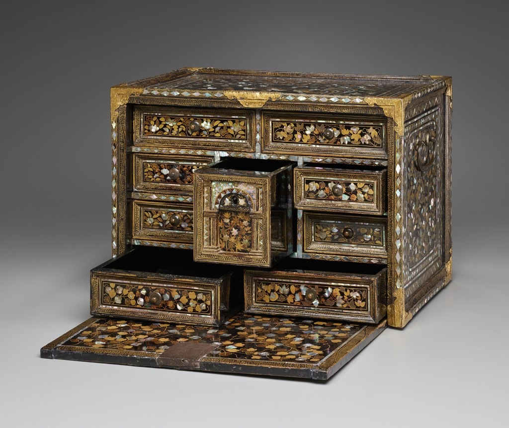 Fall-Front Cabinet with Flowers and Birds, Japan, Momoyama period (1573–1615), late 16th century. Hinoki cypress with black lacquer, sprinkled gold lacquer, inlaid mother-of-pearl, and bronze fittings. Yale University Art Gallery, Purchased with a gift from the Japan Foundation Endowment of the Council on East Asian Studies and with the Leonard C. Hanna, Jr., Class of 1913, Fund