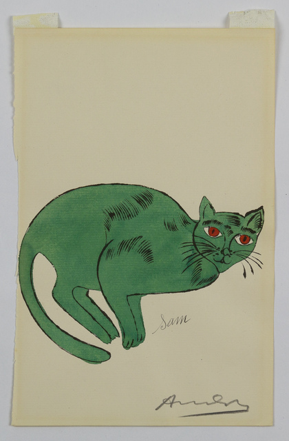 Andy Warhol, 'Green Sam - from 25 Cats Named Sam and One Blue Pussy', 1954, Drawing, Collage or other Work on Paper, Lithograph with hand coloring on Ticonderoga paper, Capsule Gallery Auction